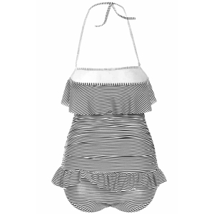 Halterneck Stripe One Piece Swimsuit with Ruffles -