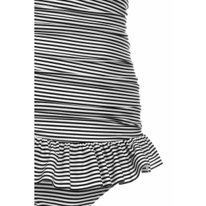 Halterneck Stripe One Piece Swimsuit with Ruffles - STRIPE L