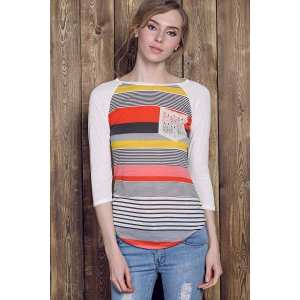 Trendy Striped Lace Spliced 3/4 Sleeve Irregular T-Shirt For Women - RED S