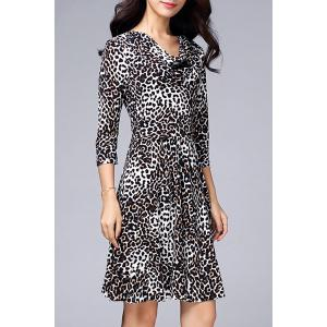Cowl Neck Leopard Dress -