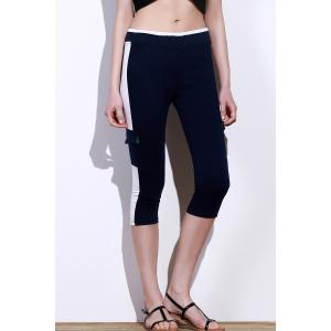 Color Block Gym Running Capris - Purplish Blue - L