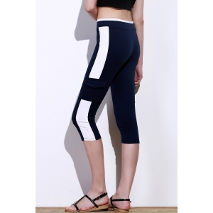 Color Block Gym Running Capris - PURPLISH BLUE M