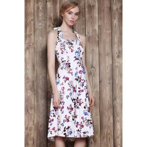 Halter Flower Print Sleeveless Tea Length Vintage Tea Dress -