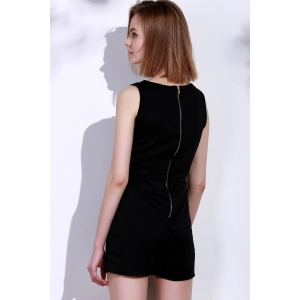 Sexy Square Neck Solid Color Button Embellished Sleeveless Romper For Women - BLACK ONE SIZE(FIT SIZE XS TO M)