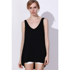 Sexy V Neck Sleeveless Solid Color Criss-Cross Women's Tank Top - BLACK XL