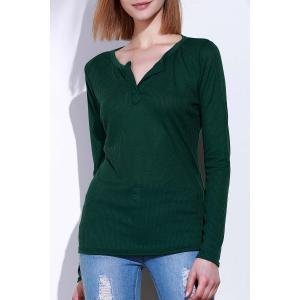 Casual V-Neck Long Sleeve Pure Color T-Shirt For Women - Green - S