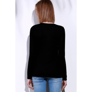 Casual V-Neck Long Sleeve Pure Color T-Shirt For Women -