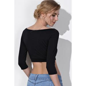Sexy Black Scoop Neck 3/4 Sleeve Bodycon Short T-Shirt For Women -