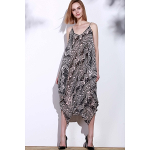 Stylish Spaghetti Strap Sleeveless Printed Women's Baggy Jumpsuit -