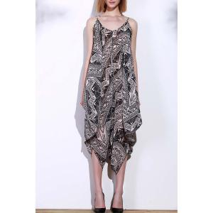 Stylish Spaghetti Strap Sleeveless Printed Women's Baggy Jumpsuit - Black And Grey - Xl
