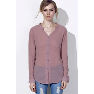 Chic V Neck Long Sleeve Pure Color Chiffon Women's Shirt -