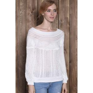 Chic Boat Neck Long Sleeve Pure Color Women's Sweater - WHITE S