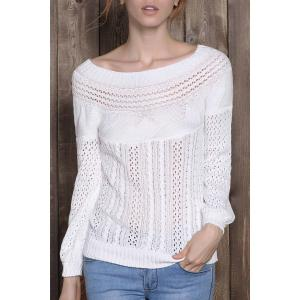 Chic Boat Neck Long Sleeve Pure Color Women's Sweater - White - Xl