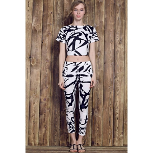 Trendy Round Neck Short Sleeve Printed Crop Top + High-Waisted Pants Women's Twinset - WHITE M