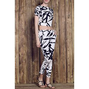 Trendy Round Neck Short Sleeve Printed Crop Top + High-Waisted Pants Women's Twinset - White - L