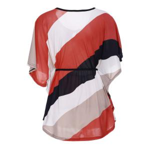 Casual Bat Sleeve Striped Women's Plus Size T-Shirt -