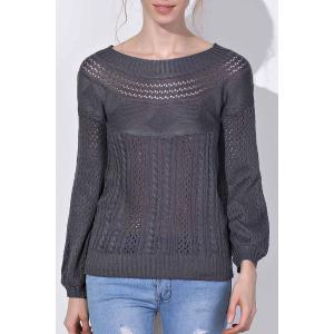 Chic Boat Neck Long Sleeve Pure Color Women's Sweater - Gray - Xl
