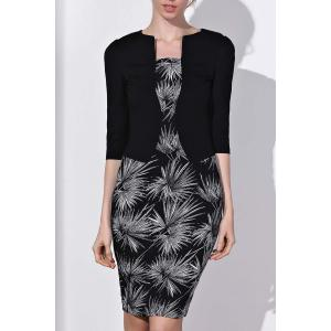 OL Style Round Neck 3/4 Sleeve Printed Faux Twinset Women's Dress