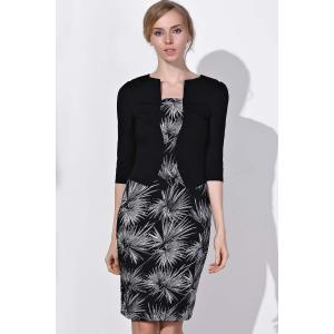 OL Style Round Neck 3/4 Sleeve Printed Faux Twinset Women's Dress - BLACK S