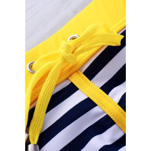 Lace Up Color Block Stripe Sexy Sports Style Men's Swimming Trunks -