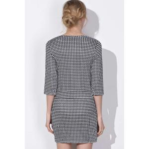 Chic Round Collar Houndstooth Printed 3/4 Sleeve Dress For Women -