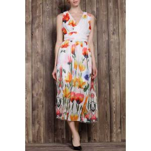 V-Neck Sleeveless Tropical Floral Maxi Dress