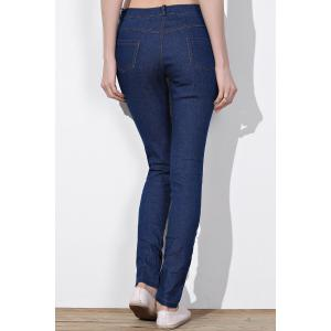 Cut Out Frayed Knee Jeans - BLUE M