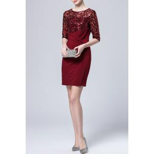 Waist Pleated Sequined Dress -