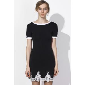 Fresh Style Jewel Neck Lace Spliced Hem Short Sleeve Dress For Women