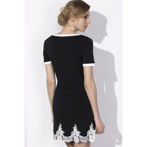 Fresh Style Jewel Neck Lace Spliced Hem Short Sleeve Dress For Women -