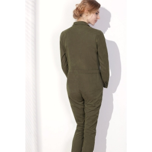 Stylish Shirt Collar Long Sleeves Single-Breasted Jumpsuit For Women - ARMY GREEN XL