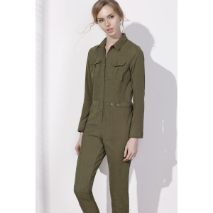 Stylish Shirt Collar Long Sleeves Single-Breasted Jumpsuit For Women -