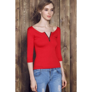 Sexy Low-Cut Solid Color Zippered 3/4 Sleeve T-Shirt For Women - RED S