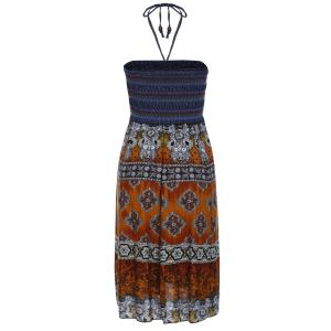 Bohemian Printed Strapless Dress For Women -