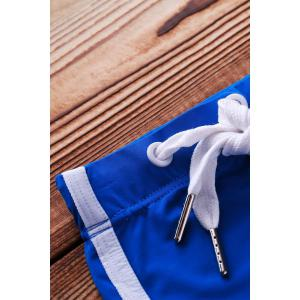 Lace Up Solid Color Sexy Sports Style Men's Swimming Trunks - BLUE S