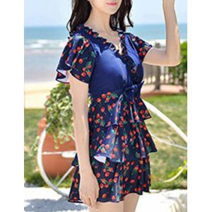 Chic Cherry Print Flounce Bowknot Design One-Piece Women's Swimsuit -