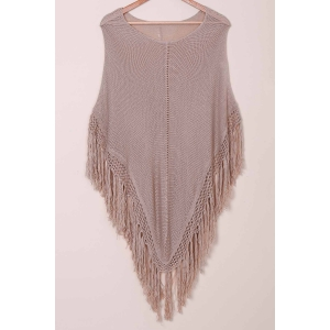 Tassels Open Knit Poncho Cover Up