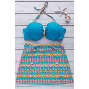 Stylish Halter Button Embellished Colorful Printed Three-Piece Swimsuit For Women