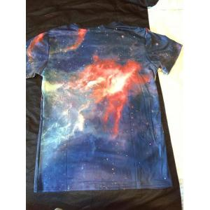 3D Cartoon Pattern Universe Short Sleeve Men's T-Shirt -