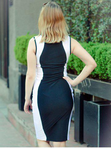 Affordable Fashion U-Neck Sleeveless Color Block Bodycon Women's Dress - S WHITE AND BLACK Mobile