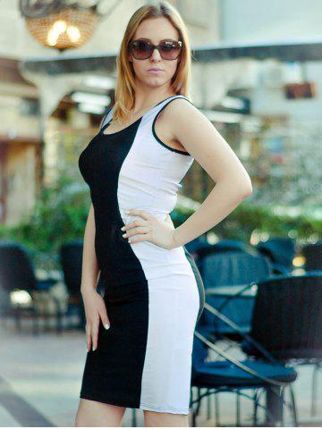 Outfit Fashion U-Neck Sleeveless Color Block Bodycon Women's Dress - S WHITE AND BLACK Mobile