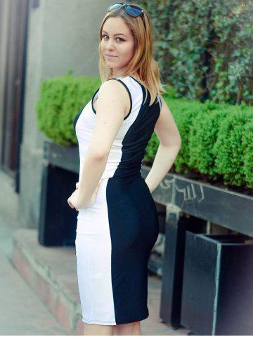 Affordable Fashion U-Neck Sleeveless Color Block Bodycon Women's Dress - M WHITE AND BLACK Mobile