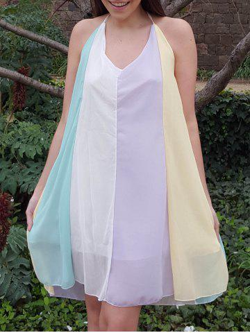Trendy Stylish Spaghetti Strap Color Block Chiffon Women's Dress COLORMIX XL