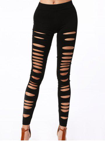 Online Stylish Solid Color Hollow Out High Elasticity Slimming Women's Leggings BLACK ONE SIZE