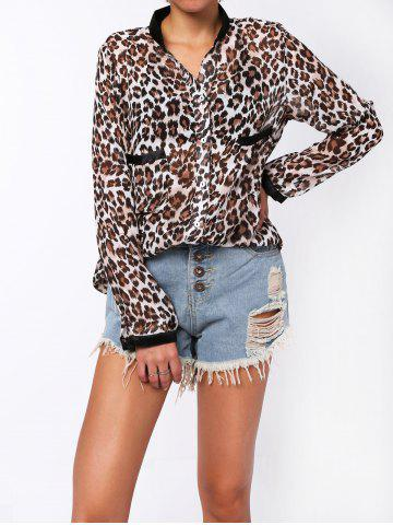 Fashion Single-Breasted Leopard Print Long Sleeve Stand-Up Collar Women's Shirt - M LEOPARD Mobile