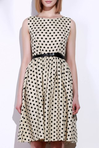 Outfit Retro Style Boat Neck Sleeveless Polka Dot Dress For Women BEIGE S