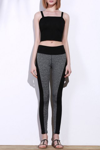 Trendy Active Stretchy Black and Gray Spliced Skinny Women's Pants BLACK AND GREY L