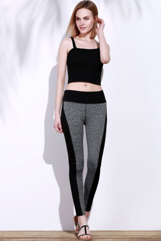 Cheap Active Stretchy Black and Gray Spliced Skinny Women's Pants - L BLACK AND GREY Mobile
