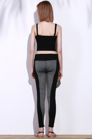 Discount Active Stretchy Black and Gray Spliced Skinny Women's Pants - L BLACK AND GREY Mobile