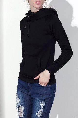 Outfit Stylish Hooded Long Sleeve Drawstring Solid Color Women's Hoodie BLACK S